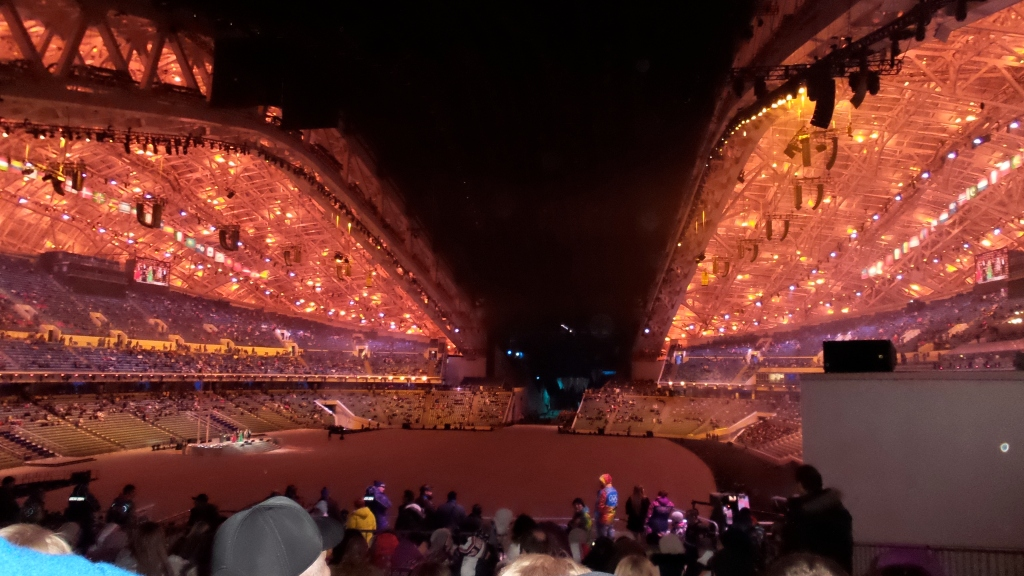 We had the great pleasure of attending the Opening Ceremony rehearsals! This is what Fisht Stadium looked like before the show started. We were prohibited from taking pictures once everything got going, but it was amazing!