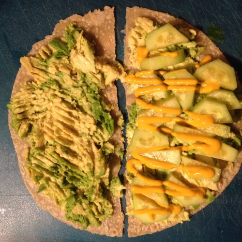 Brown Rice Tortilla w/ Avocado & Cucumber
